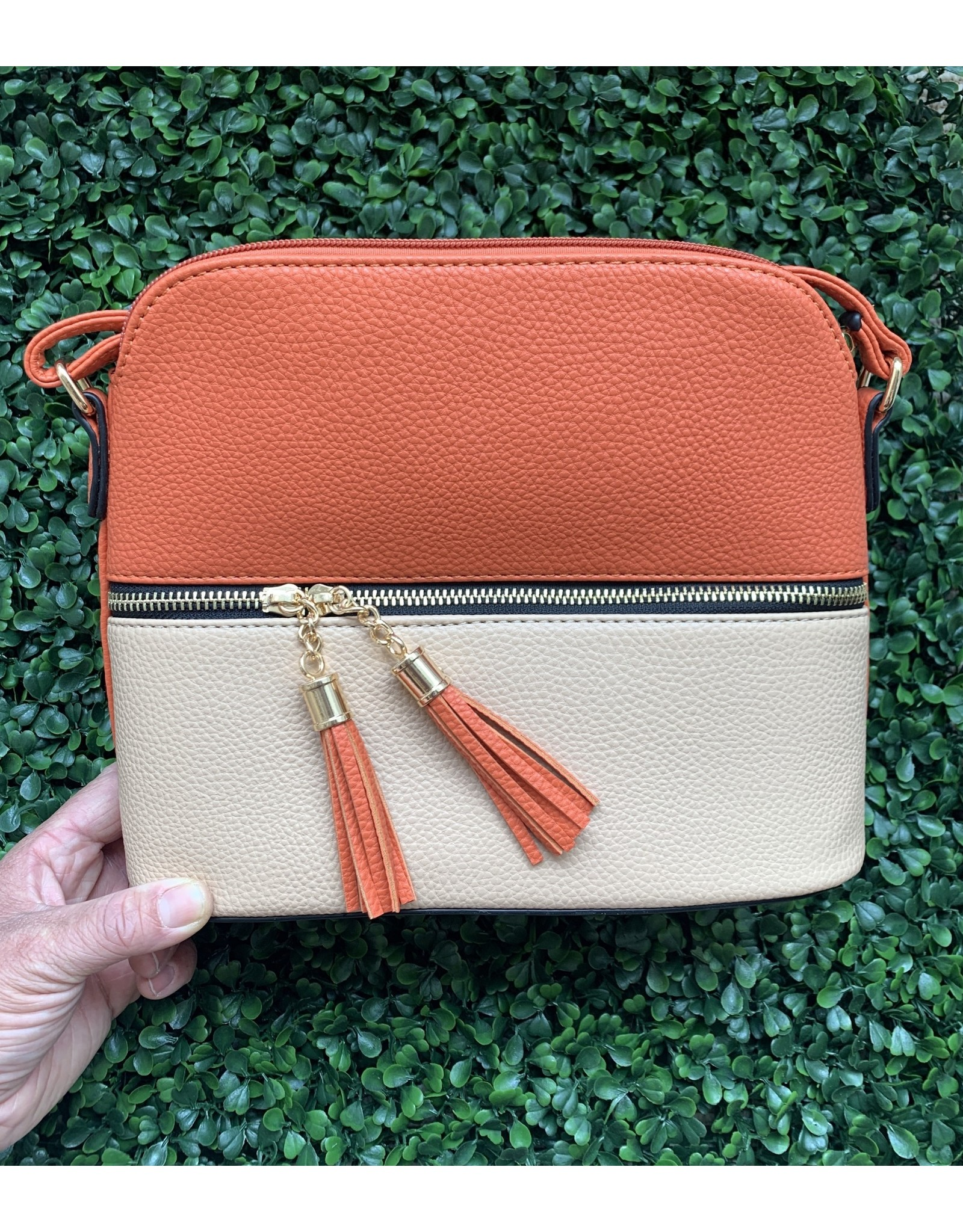 Accessories Shop by Place & Gather Pebbled Tassel Crossbody in Deep Salmon and Tan
