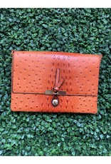 The Everyday Crossbody Small in Orange Ostrich