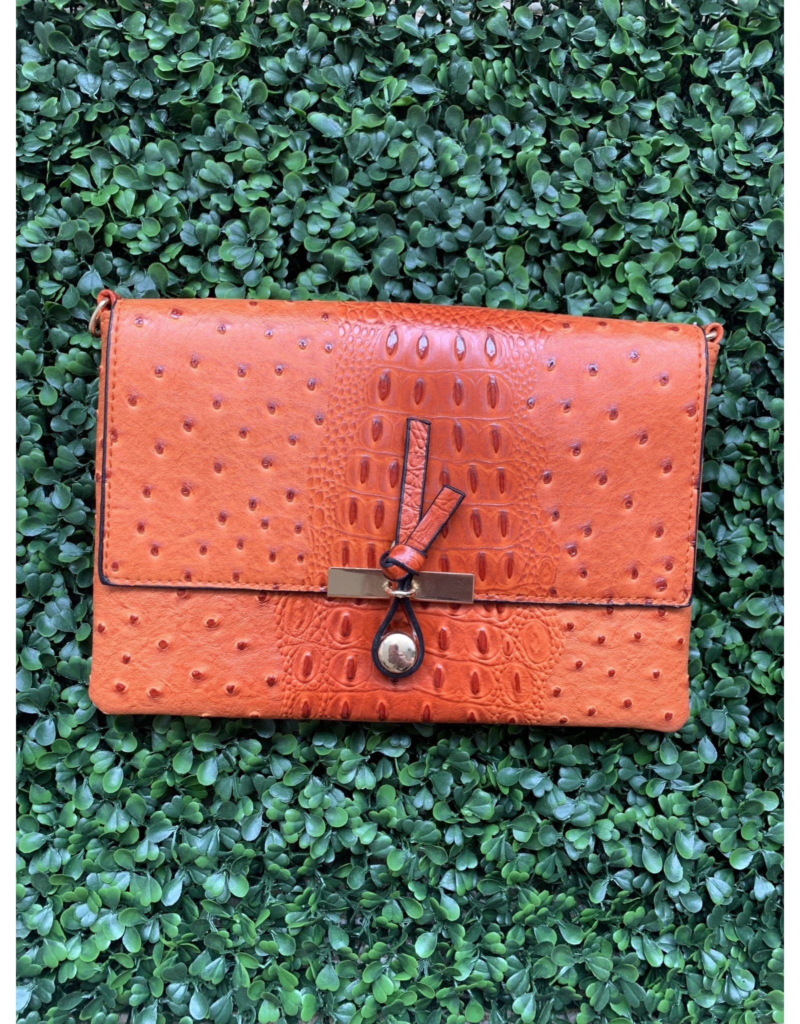 Accessories Shop by Place & Gather The Everyday Crossbody Small in Orange Ostrich