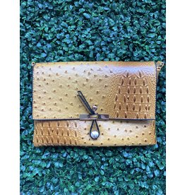 The Everyday Crossbody Small in Amber Ostrich