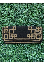 Black and Gold Greek Key Beaded Clutch