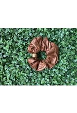 Vegan Leather Scrunchie in Chocolate
