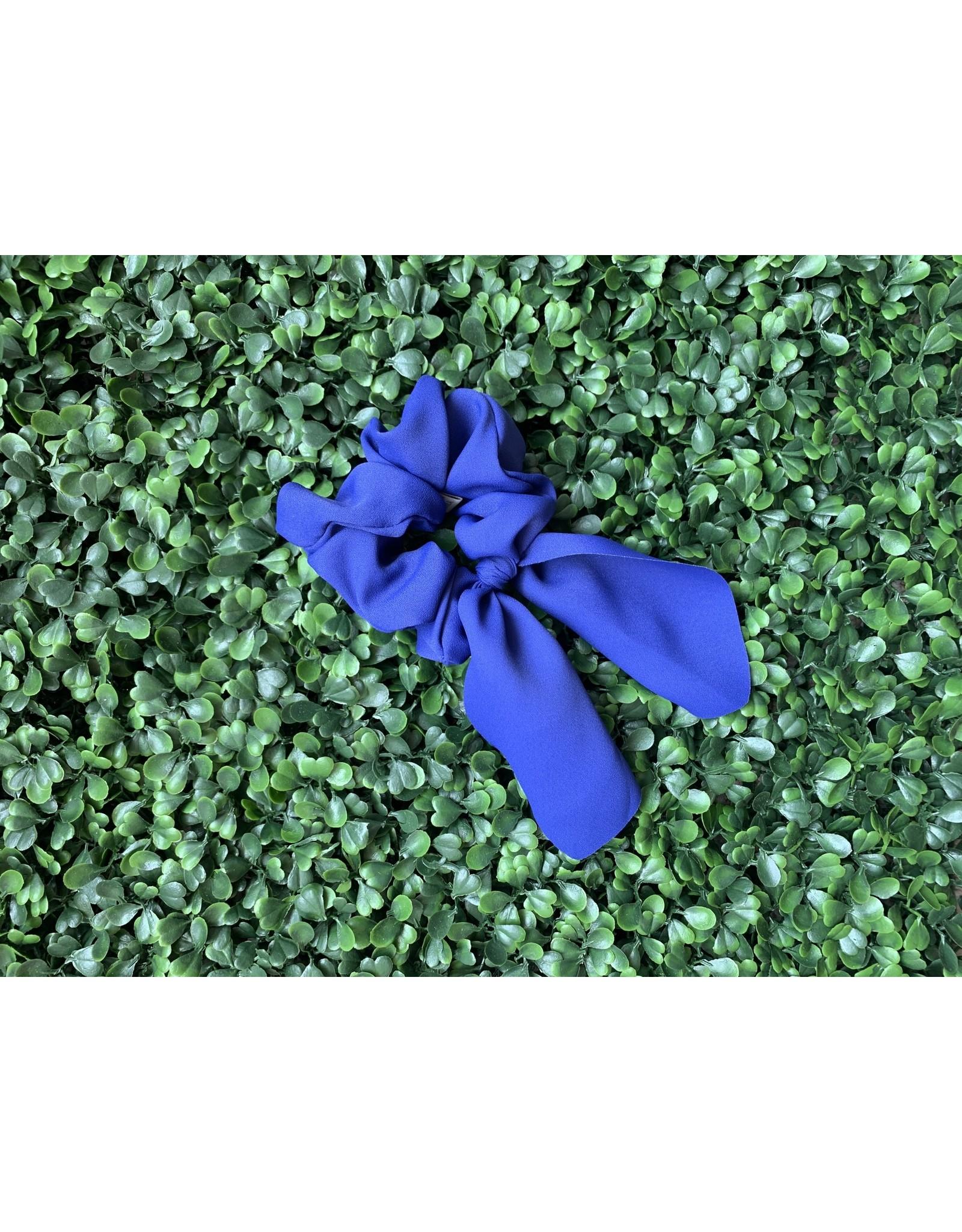 Silk Tie Scrunchie in Bright Blue