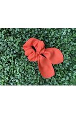 Silk Tie Scrunchie in Bright Orange