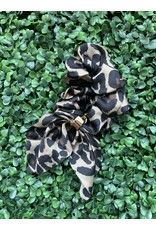 Silk Tie Scrunchie in Dark Leopard