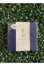 Caspari Stripe Navy Charlestown Anchor Napkin