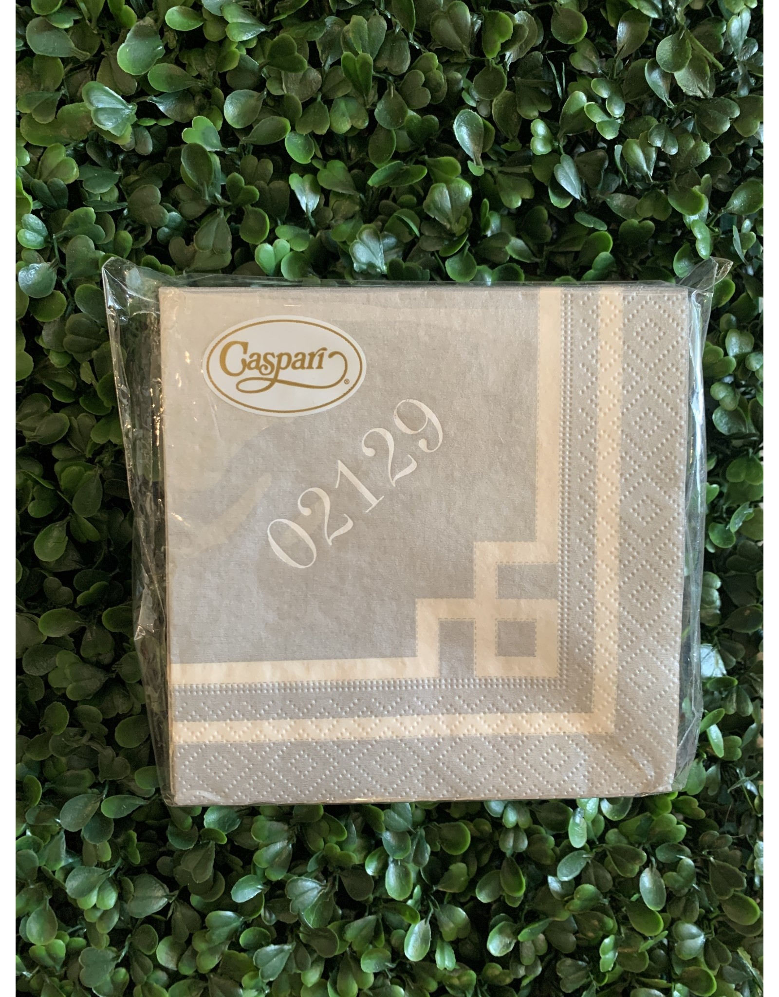 Caspari 02129 Greek Key Ivory and Silver Cocktail Napkin