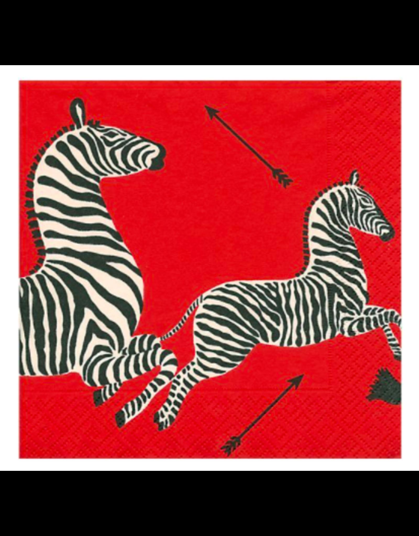 Caspari Zebras Red Cocktail Napkin