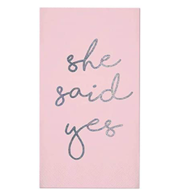 Slant Collections She Said Yes Pink Guest Towel