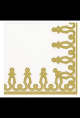 Caspari Paper Linen Napkin in Gold Dessin Passementerie