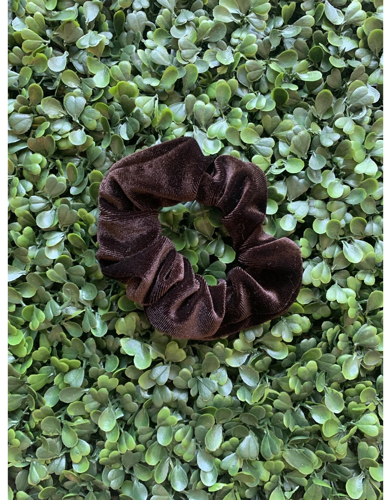 Chocolate Petite Velvet Scrunchie