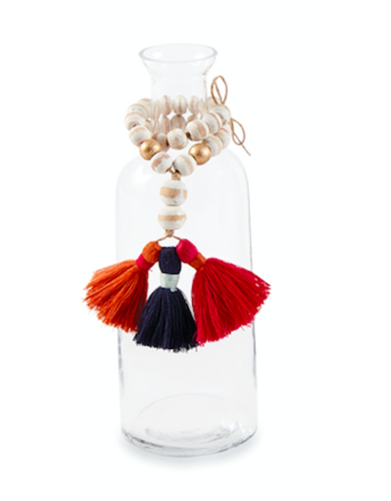White Bead and Tassel Vase