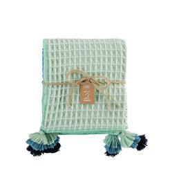 Blue Tassel Waffle Towel Set