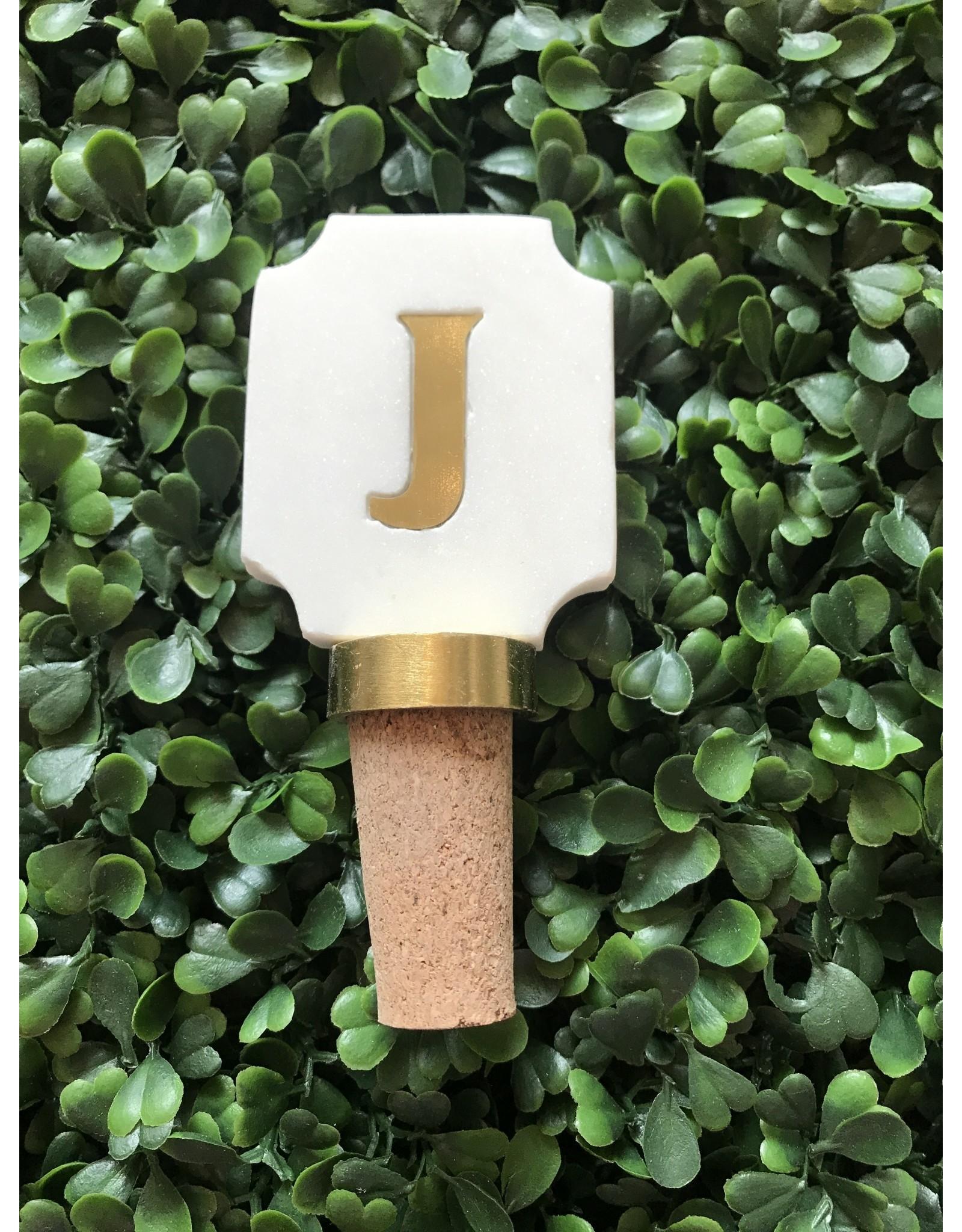 Letter J Initial Bottle Stopper