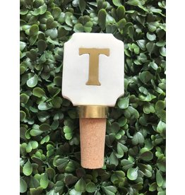 Letter T Initial Bottle Stopper