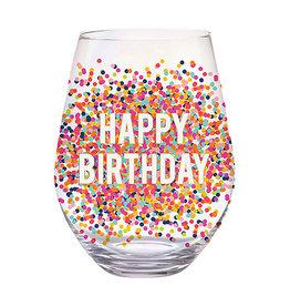 Slant Collections Happy Birthday Jumbo Stemless Wineglass