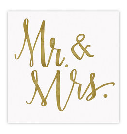 Slant Collections Mr. and Mrs. Gold Foil Napkins