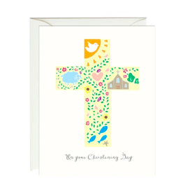 Paula and Waffle Christening Cross Card