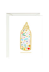 Paula and Waffle Baby Bottle Foil Card