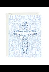 Paula and Waffle Blue Floral Cross Card