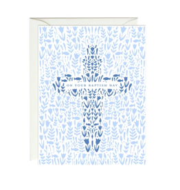 Paula and Waffle Blue Floral Cross Card