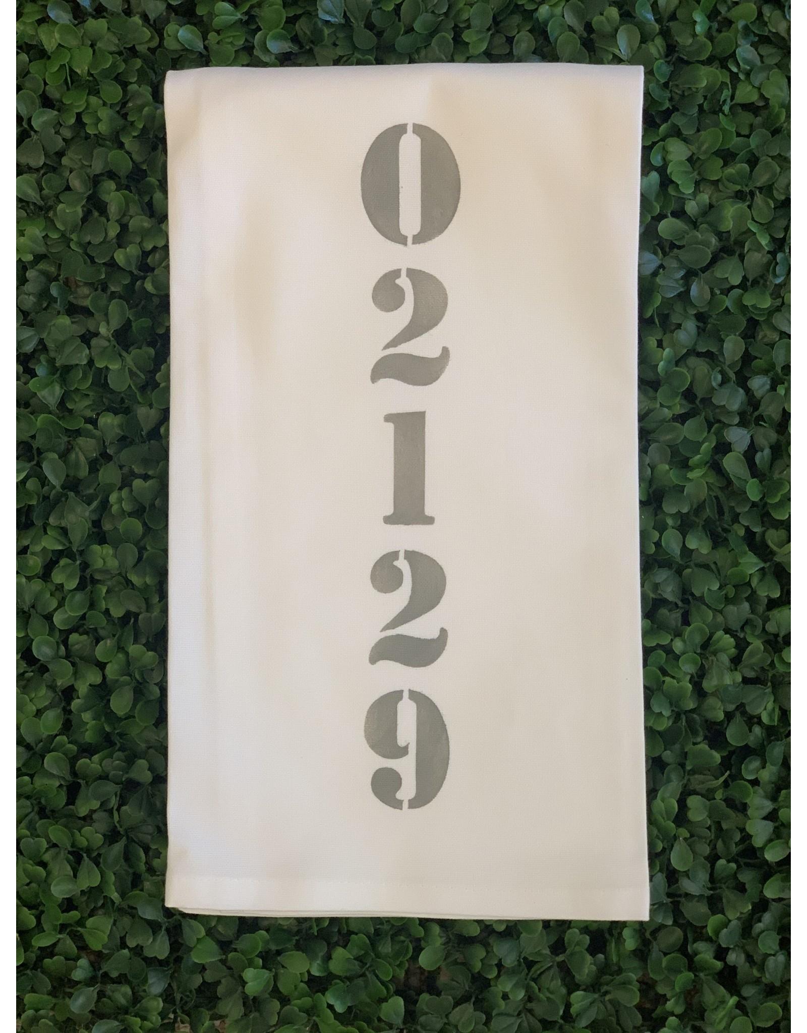 Marshes Fields and Hills 02129 Vertical Tea Towel in Dorian Grey