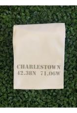 Marshes Fields and Hills Charlestown Longitude & Latitude Tea Towel in Dorian Grey