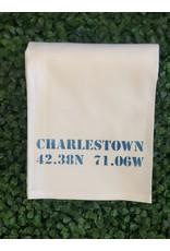 Marshes Fields and Hills Charlestown Longitude & Latitude Tea Towel in Nautical Blue