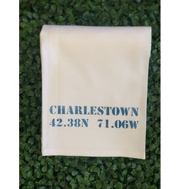 Marshes Fields and Hills Charlestown Longitude & Latitude Tea Towel in Nautical Blue