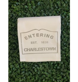 Marshes Fields and Hills Entering Charlestown Tea Towel in Dorian Grey