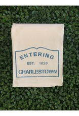 Marshes Fields and Hills Entering Charlestown Tea Towel in Nautical Blue