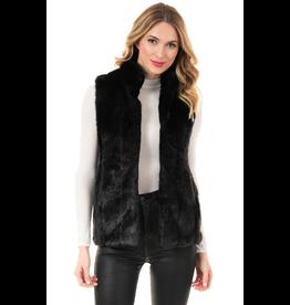 Donna Salyers Fabulous Furs Black Faux Mink Hook Vest Size Large