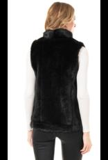 Donna Salyers Fabulous Furs Black Faux Mink Hook Vest Size Small