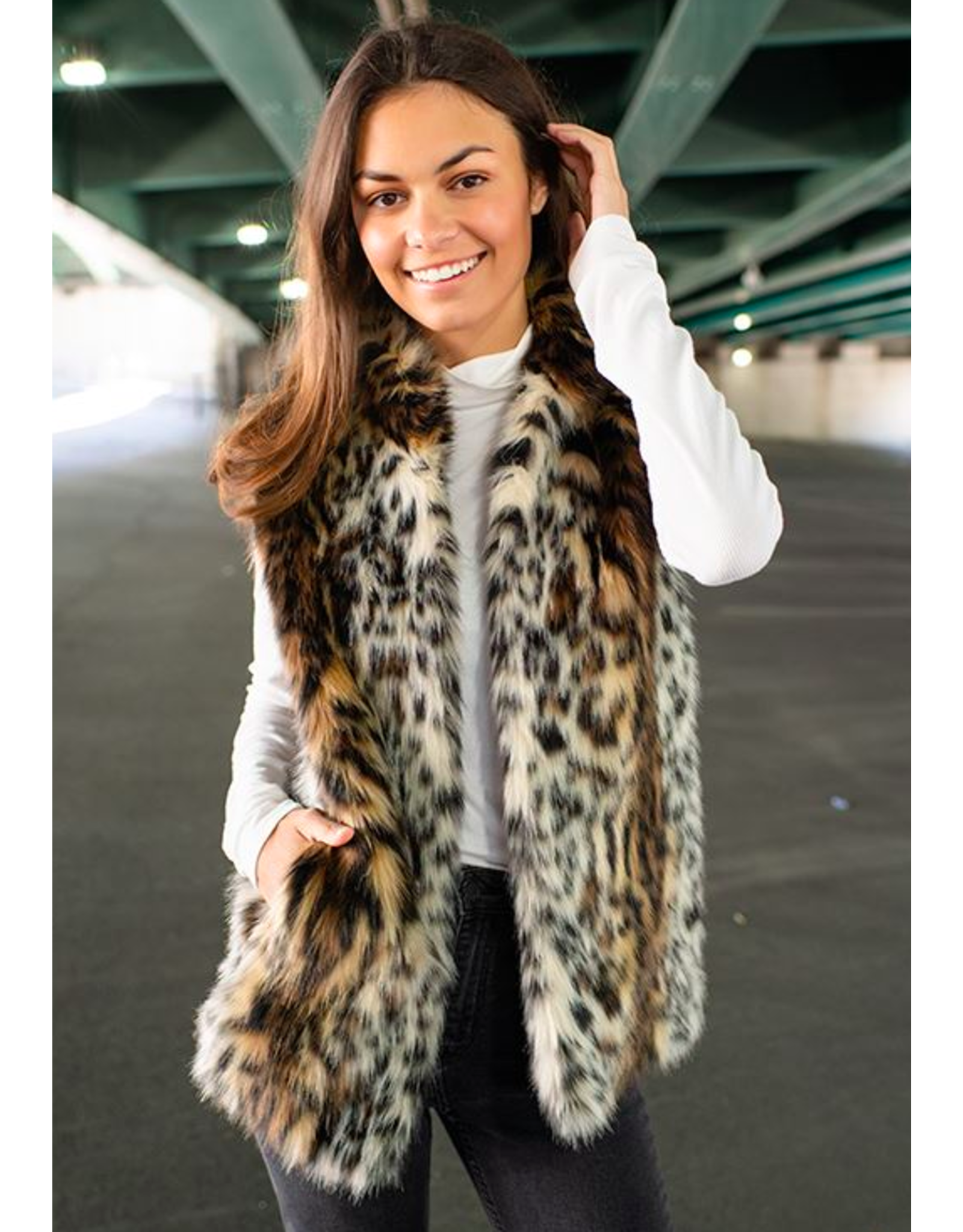 Donna Salyers Fabulous Furs Faux Ocelot Hook Vest Size Small