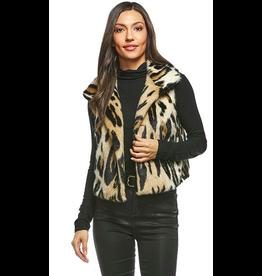 Donna Salyers Fabulous Furs Faux Leopard Cropped Vest