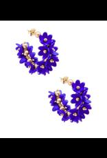 Zenzii Petals Hoop Earring in Cobalt