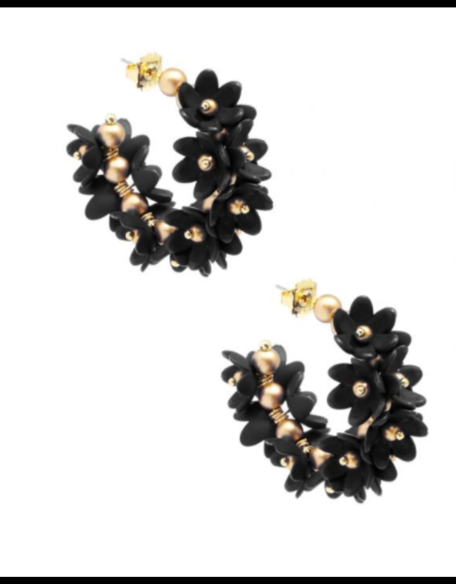 Zenzii Petals Hoop Earring in Black