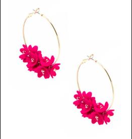 Zenzii Gold Petals Hoop Earring in Hot Pink