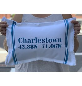 Marshes Fields and Hills Charlestown Longitude & Latitude 12 x 18 Pillow in Nautical Blue