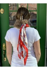 Light Brown Fur and Red Patterned Silk Scarf