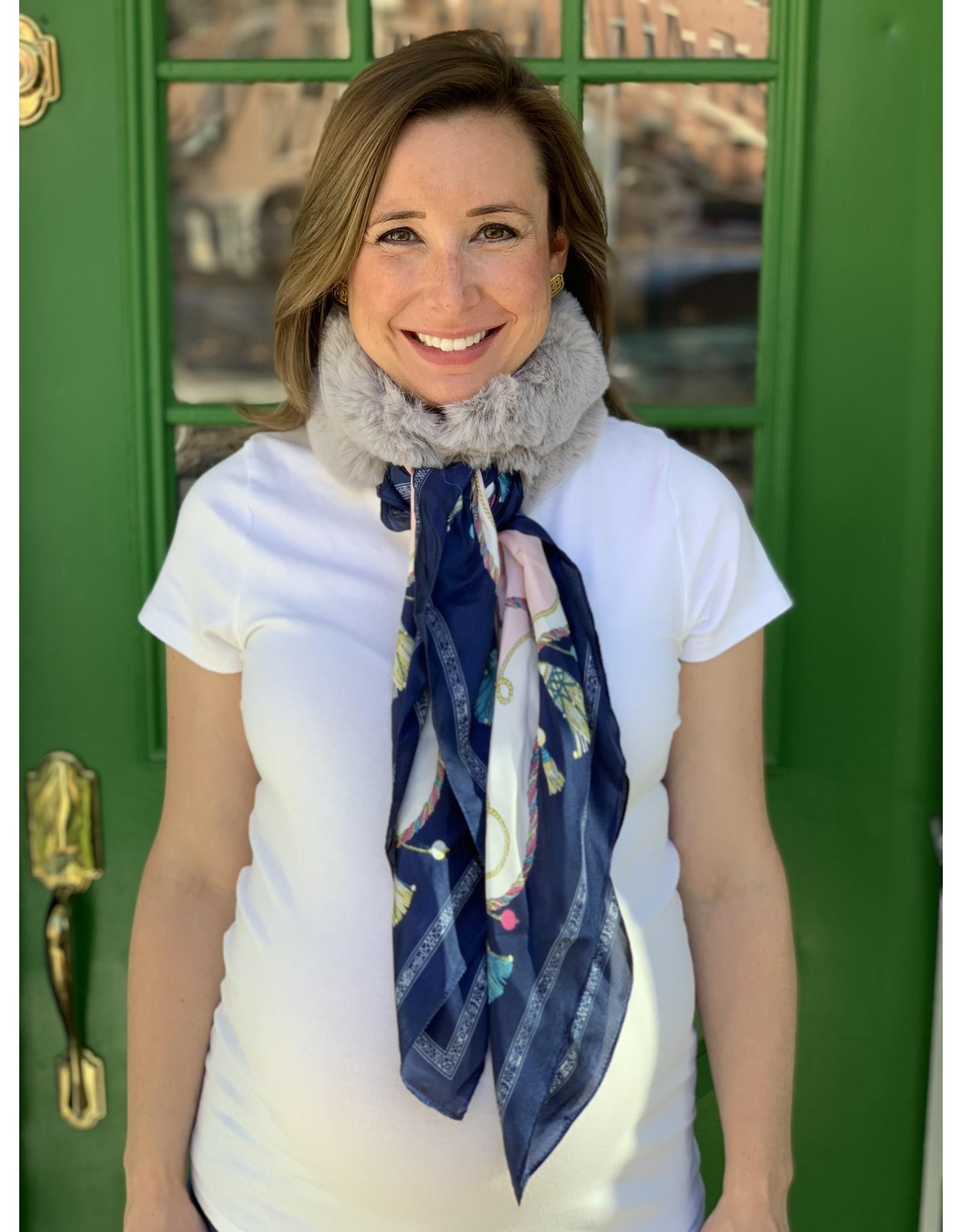 Light Grey Fur and Blue Tassel Silk Scarf