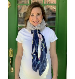 Light Grey Fur and Blue Tassel Silk Scarf