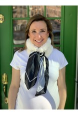 White Fur and Black and White Silk Scarf