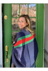 Red and Green Striped Wrap in Navy