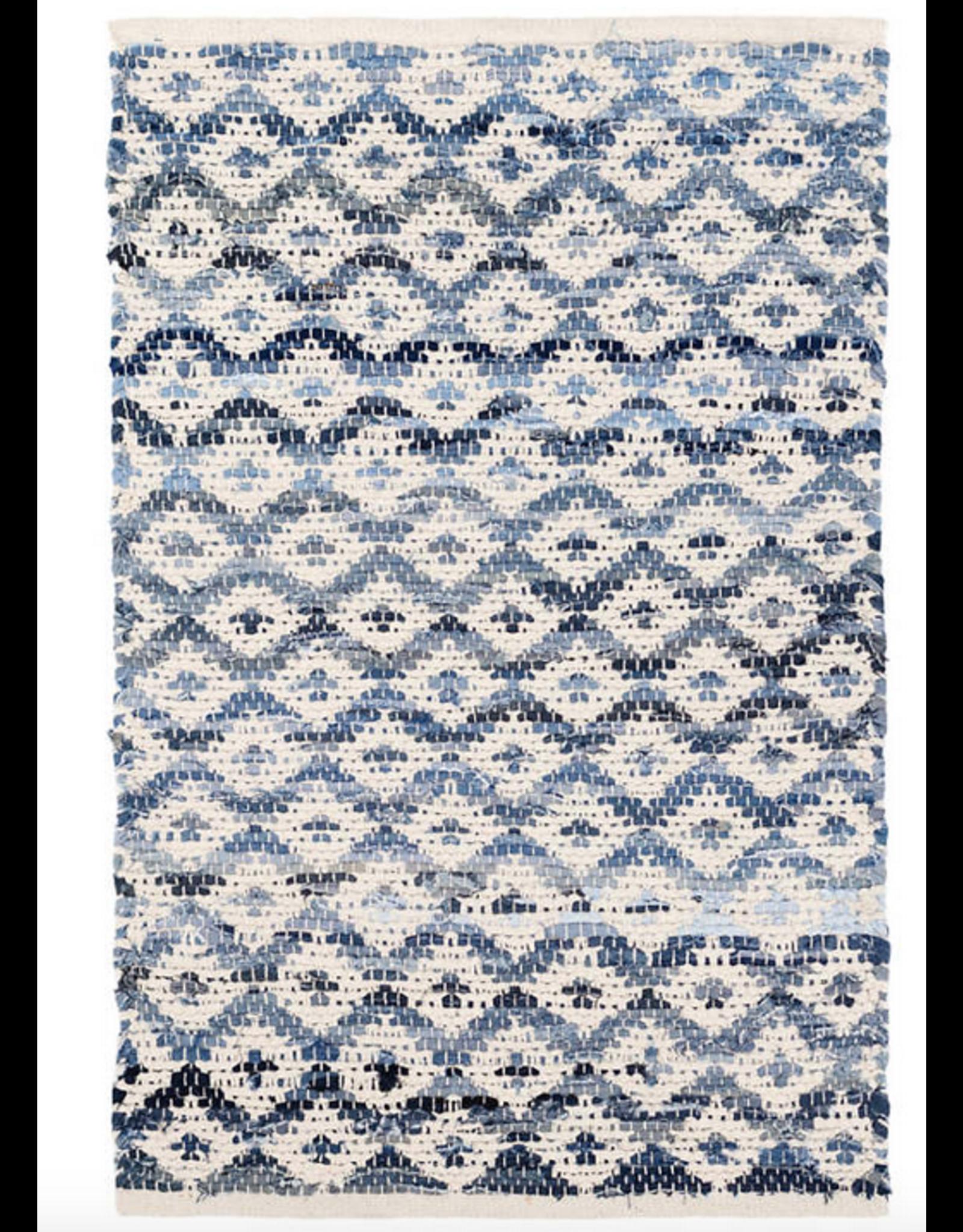 Dash & Albert Denim Rag Diamond & Ivory Cotton Rug 2x3