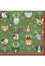 Caspari Pets In Antlers Cocktail Napkin