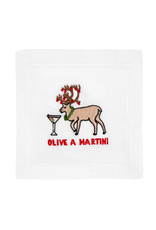 August Morgan Olive a Martini Cocktail Napkin