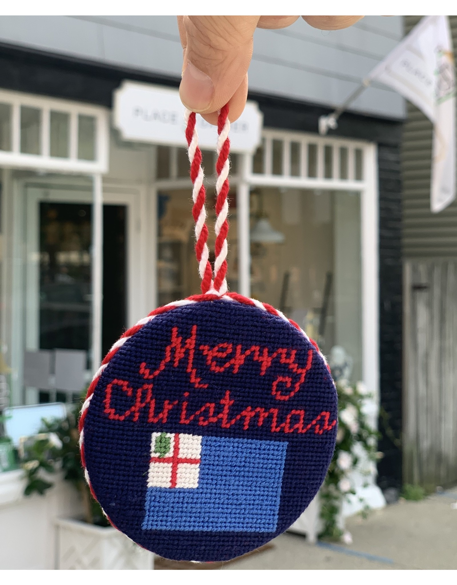 Smathers & Branson Merry Christmas Flag Needlepoint Ornament