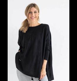 Mer Sea Crewneck Mini Pocket Sweater in Black
