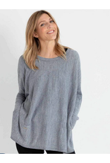 Mer Sea Crewneck Mini Pocket Sweater in Fog